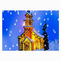 Winter Church Large Glasses Cloth (2 Side) by Nexatart