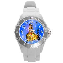 Winter Church Round Plastic Sport Watch (l) by Nexatart