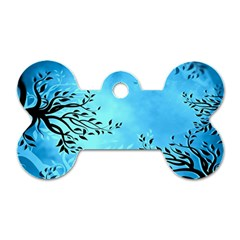 Blue Night Portrait Background Dog Tag Bone (two Sides) by Nexatart