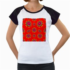 Rainbow Colors Geometric Circles Seamless Pattern On Red Background Women s Cap Sleeve T by Nexatart