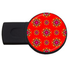 Rainbow Colors Geometric Circles Seamless Pattern On Red Background Usb Flash Drive Round (2 Gb) by Nexatart