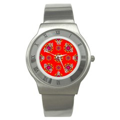 Rainbow Colors Geometric Circles Seamless Pattern On Red Background Stainless Steel Watch by Nexatart
