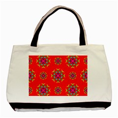Rainbow Colors Geometric Circles Seamless Pattern On Red Background Basic Tote Bag by Nexatart