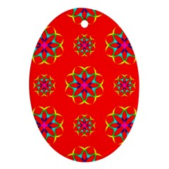 Rainbow Colors Geometric Circles Seamless Pattern On Red Background Oval Ornament (two Sides) by Nexatart