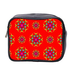 Rainbow Colors Geometric Circles Seamless Pattern On Red Background Mini Toiletries Bag 2 Side by Nexatart