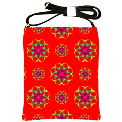 Rainbow Colors Geometric Circles Seamless Pattern On Red Background Shoulder Sling Bags by Nexatart
