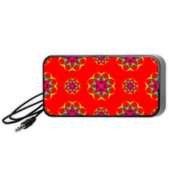 Rainbow Colors Geometric Circles Seamless Pattern On Red Background Portable Speaker (black) by Nexatart
