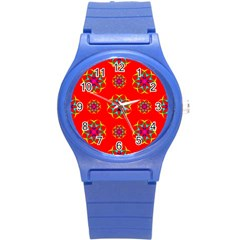 Rainbow Colors Geometric Circles Seamless Pattern On Red Background Round Plastic Sport Watch (s) by Nexatart