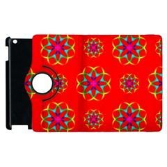 Rainbow Colors Geometric Circles Seamless Pattern On Red Background Apple Ipad 3/4 Flip 360 Case by Nexatart