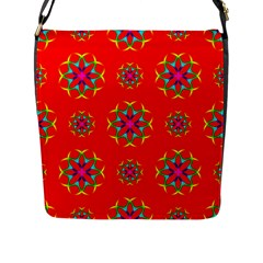 Rainbow Colors Geometric Circles Seamless Pattern On Red Background Flap Messenger Bag (l)  by Nexatart