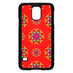 Rainbow Colors Geometric Circles Seamless Pattern On Red Background Samsung Galaxy S5 Case (black) by Nexatart