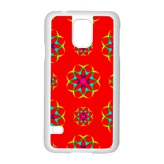 Rainbow Colors Geometric Circles Seamless Pattern On Red Background Samsung Galaxy S5 Case (white) by Nexatart