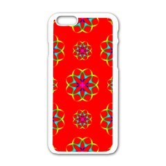 Rainbow Colors Geometric Circles Seamless Pattern On Red Background Apple Iphone 6/6s White Enamel Case by Nexatart