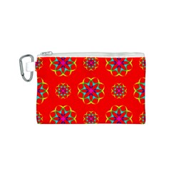 Rainbow Colors Geometric Circles Seamless Pattern On Red Background Canvas Cosmetic Bag (s) by Nexatart