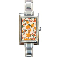 Vintage Floral Wallpaper Background In Shades Of Orange Rectangle Italian Charm Watch by Nexatart