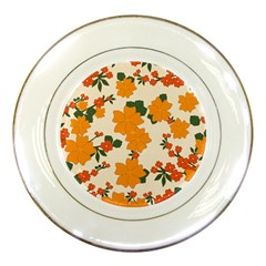 Vintage Floral Wallpaper Background In Shades Of Orange Porcelain Plates by Nexatart