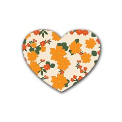 Vintage Floral Wallpaper Background In Shades Of Orange Rubber Coaster (heart)  by Nexatart