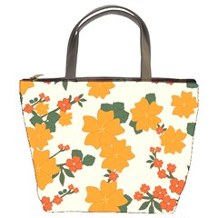 Vintage Floral Wallpaper Background In Shades Of Orange Bucket Bags by Nexatart