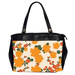 Vintage Floral Wallpaper Background In Shades Of Orange Office Handbags (2 Sides)  by Nexatart