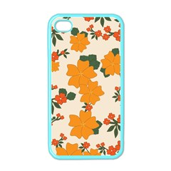 Vintage Floral Wallpaper Background In Shades Of Orange Apple Iphone 4 Case (color) by Nexatart