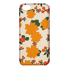 Vintage Floral Wallpaper Background In Shades Of Orange Apple Iphone 5c Hardshell Case by Nexatart