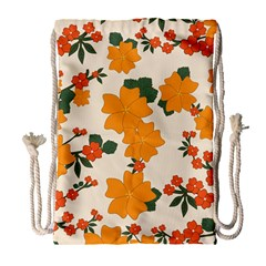 Vintage Floral Wallpaper Background In Shades Of Orange Drawstring Bag (large) by Nexatart