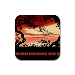 Autumn Song Autumn Spreading Its Wings All Around Rubber Square Coaster (4 Pack)  by Nexatart