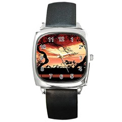 Autumn Song Autumn Spreading Its Wings All Around Square Metal Watch by Nexatart