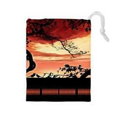 Autumn Song Autumn Spreading Its Wings All Around Drawstring Pouches (large)  by Nexatart