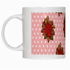 Pink Polka Dot Background With Red Roses White Mugs by Nexatart