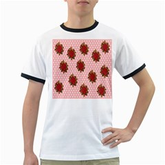 Pink Polka Dot Background With Red Roses Ringer T Shirts