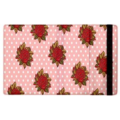 Pink Polka Dot Background With Red Roses Apple Ipad 3/4 Flip Case by Nexatart