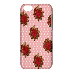 Pink Polka Dot Background With Red Roses Apple Iphone 5c Hardshell Case by Nexatart