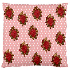 Pink Polka Dot Background With Red Roses Large Flano Cushion Case (one Side) by Nexatart