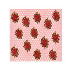 Pink Polka Dot Background With Red Roses Small Satin Scarf (square)