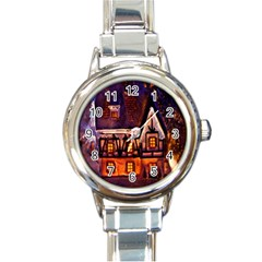 House In Winter Decoration Round Italian Charm Watch by Nexatart