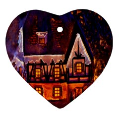 House In Winter Decoration Ornament (heart) by Nexatart