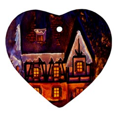 House In Winter Decoration Heart Ornament (two Sides) by Nexatart