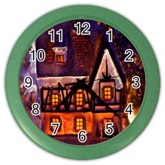 House In Winter Decoration Color Wall Clocks by Nexatart