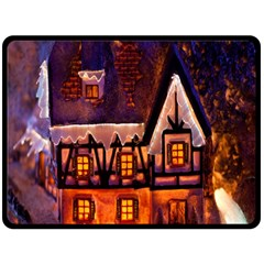 House In Winter Decoration Double Sided Fleece Blanket (large)  by Nexatart