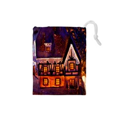 House In Winter Decoration Drawstring Pouches (small)  by Nexatart