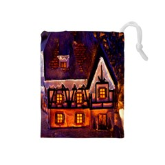 House In Winter Decoration Drawstring Pouches (medium)  by Nexatart