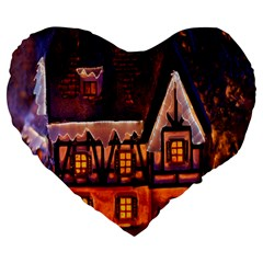 House In Winter Decoration Large 19  Premium Flano Heart Shape Cushions by Nexatart