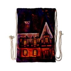 House In Winter Decoration Drawstring Bag (small) by Nexatart