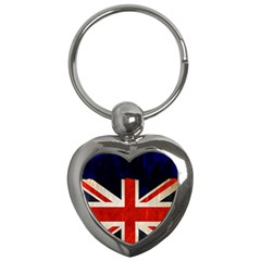 Flag Of Britain Grunge Union Jack Flag Background Key Chains (heart)  by Nexatart