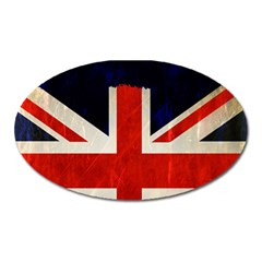 Flag Of Britain Grunge Union Jack Flag Background Oval Magnet by Nexatart
