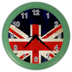 Flag Of Britain Grunge Union Jack Flag Background Color Wall Clocks by Nexatart