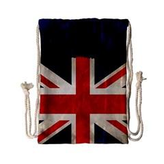 Flag Of Britain Grunge Union Jack Flag Background Drawstring Bag (small) by Nexatart