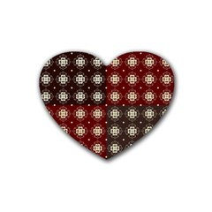 Decorative Pattern With Flowers Digital Computer Graphic Rubber Coaster (heart)  by Nexatart