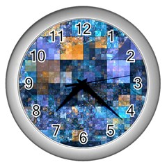 Blue Squares Abstract Background Of Blue And Purple Squares Wall Clocks (silver)  by Nexatart